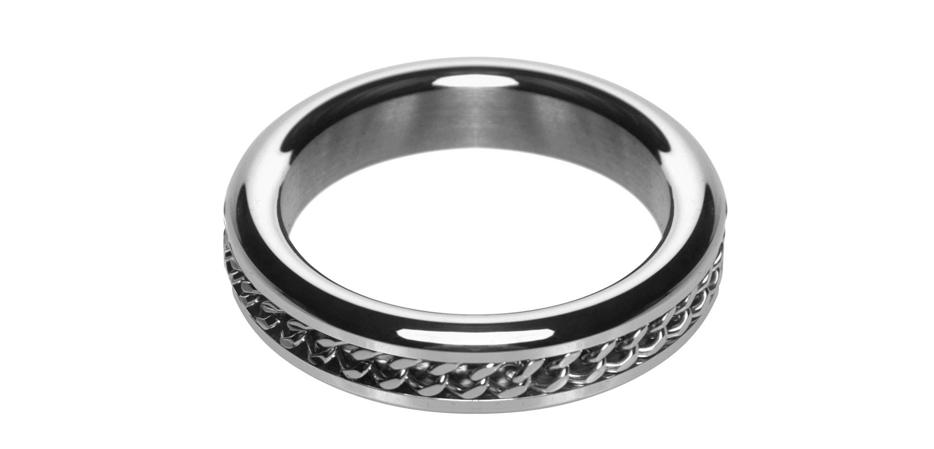 Metal Cock Ring with Chain Inlay.